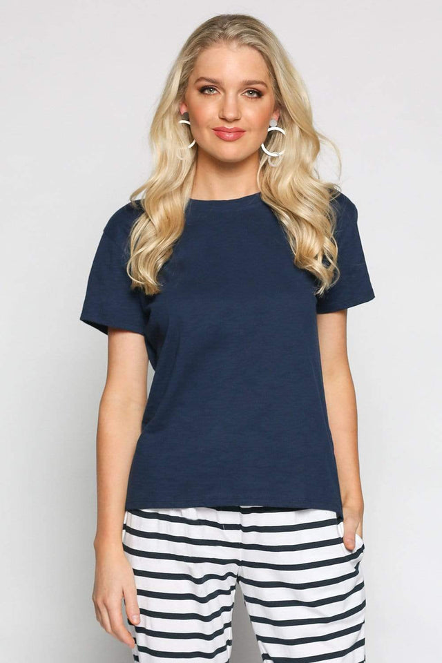 Basics By Adrift Top Crew Neck Tee in Navy