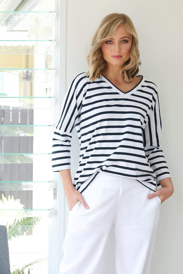 Basics By Adrift Top Relaxed Tee in French Stripe