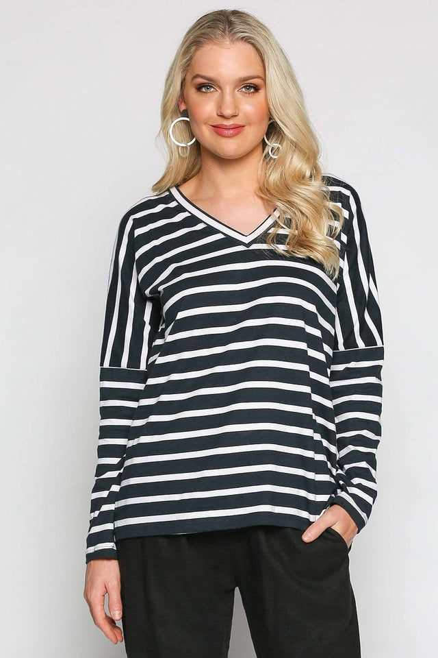Basics By Adrift Top Relaxed Tee in Nautical Stripe