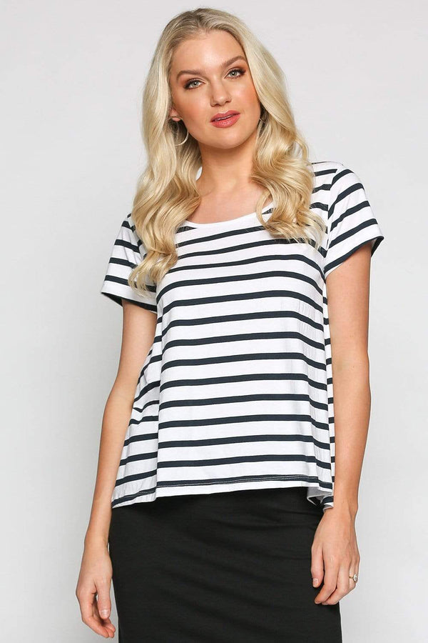 Basics By Adrift Top Swing Tee in French Stripe