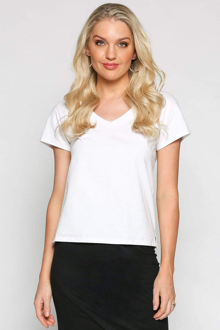 Basics By Adrift Top V-Neck Tee in White