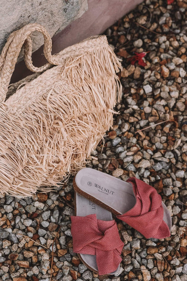 Walnut Shoes Somerset Twist Slide in Coral