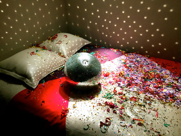 41 Winks Bedding Photoshoot Disco Ball on Deco Collection