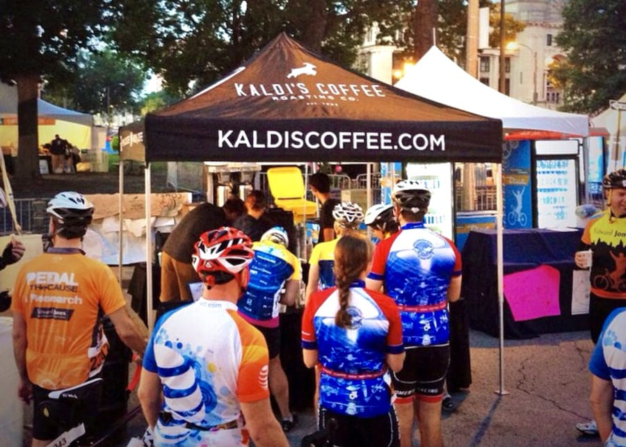 Kaldi's tent at the Pedal the Cause event