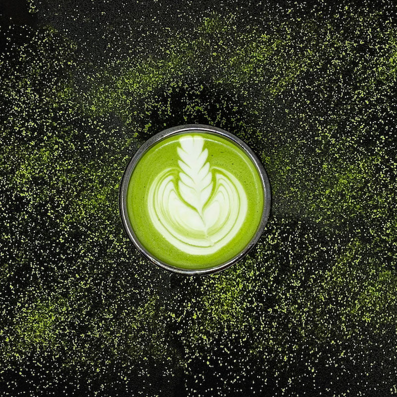 Matcha Latte in a black background