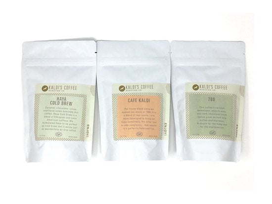 Coffee Blend Sampler Box featuring Cafe Kaldi, 700, and Haya Cold Brew Blend