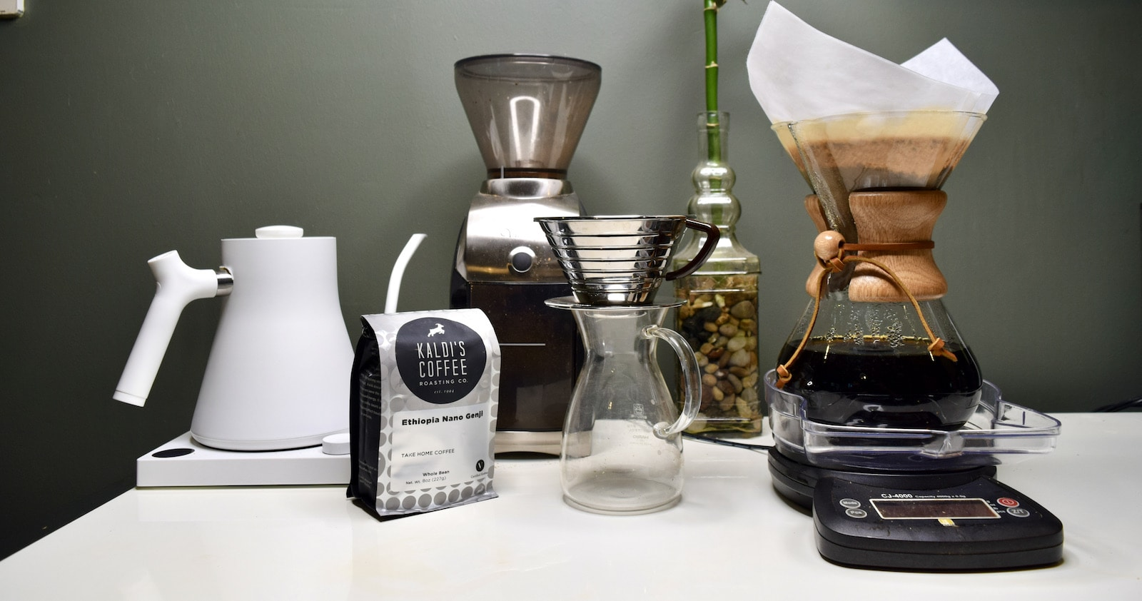 At Home Coffee Brewing Set Up with Chemex, Kalita, Scale, Grinder, and Kettle