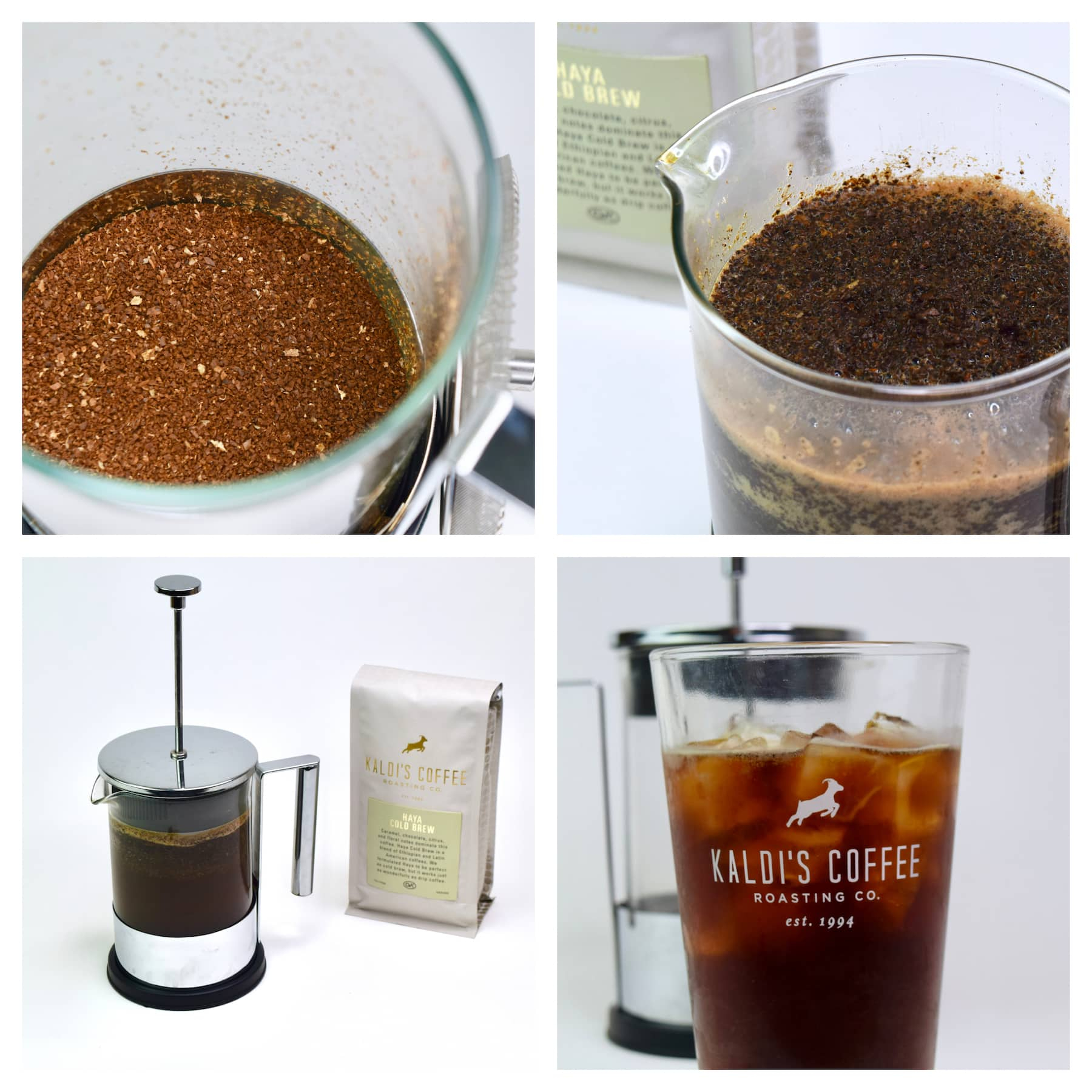 Cold Brew Coffee in a French Press Directions Collage