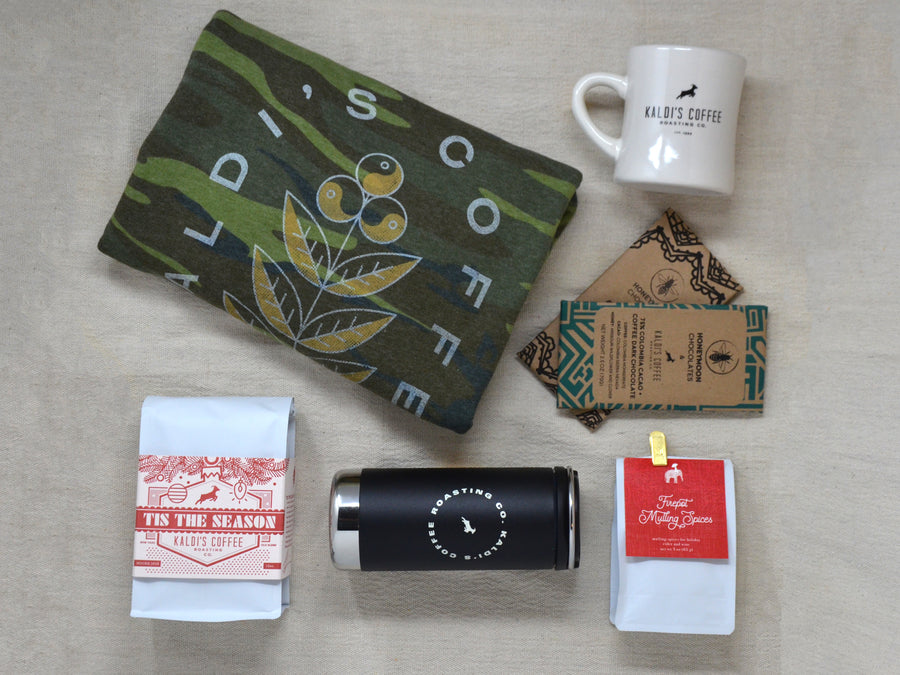 Kaldi's Coffee Holiday Coffee Gift Collection, Coffee Sweatshirt, Chocolate Bars, 12oz Coffee Tumbler, Mulling Spices, and Tis the Season holiday coffee blend