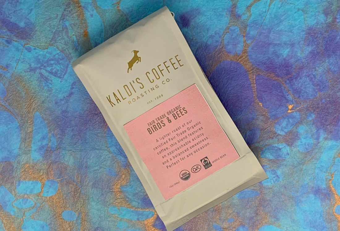 A 12oz bag of our Fair Trade Organic Birds and Bees coffee blend