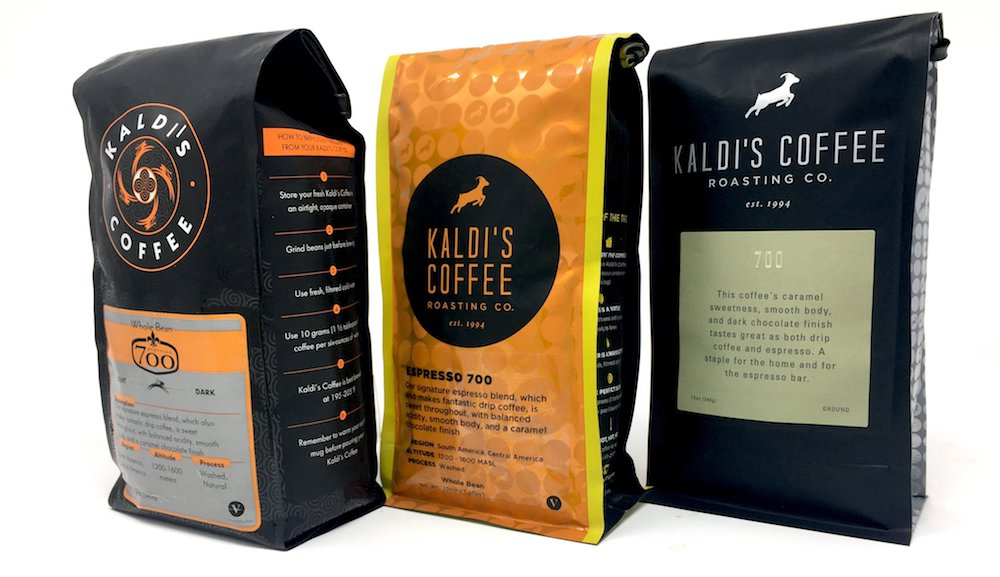 12oz Coffee Bags of Kaldi's Coffee 700 Through the Years, two black bags and one orange