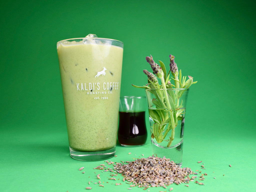 Lavender Matcha Latte, part of the Flower Series at Kaldi's Coffee
