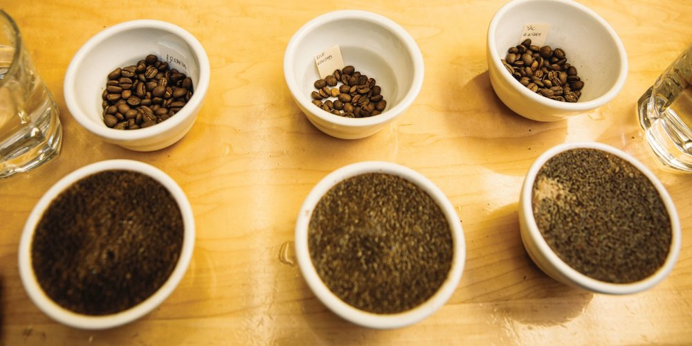 Cupping bowls of coffee as we select the coffees that will go into our year round coffee blends