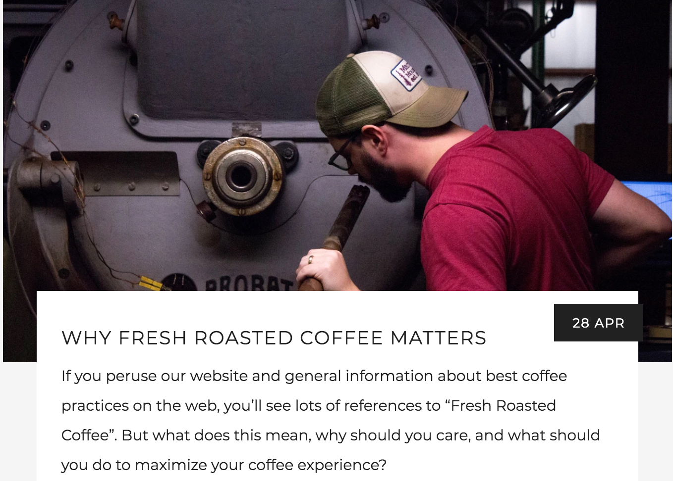 Why Fresh Roasted Coffee Matters Blog, Sniffing the trier of a coffee roaster