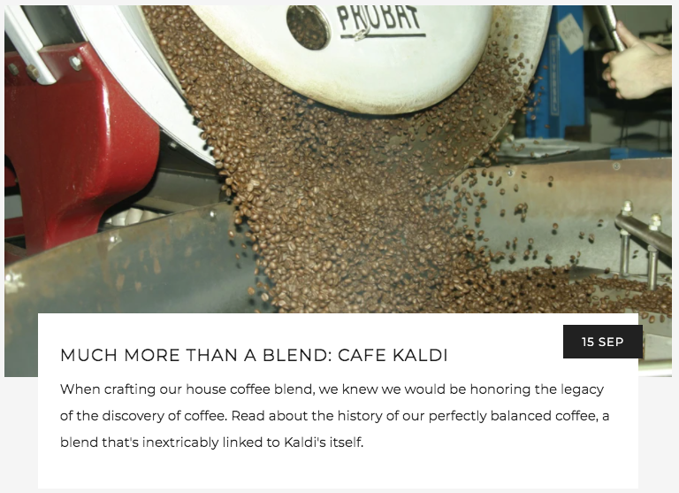 Much More Than a Blend: Cafe Kaldi | Kaldi's Coffee Blog