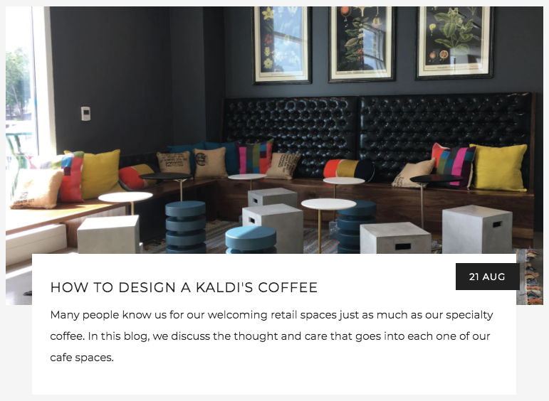 How to Design a Kaldi's Coffee Cafe | Kaldi's Coffee Blog