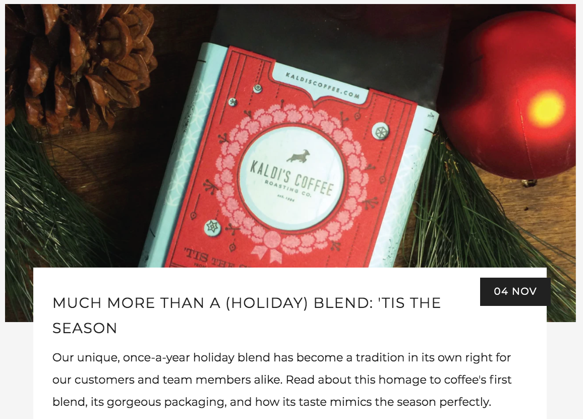 Much More than a Holiday Coffee Blend: 'Tis the Season