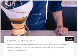 """Brewing a Chemex Behind the Cafe Bar, leads to our """"Brewing at Home Guide"""" blog"""