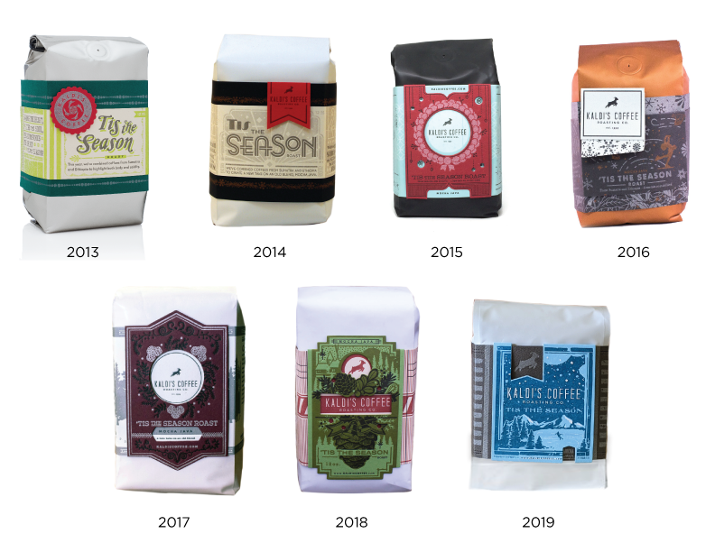 'Tis the Season Holiday Coffee Blend through the years.