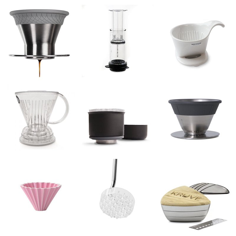 Different Kinds of Brewing Gear - December Dripper, Delter Press, Beehouse Dripper, Fellow Stagg X Dripper, Origami Dripper, Melodrip Coffee Tool, Kruve Sifter