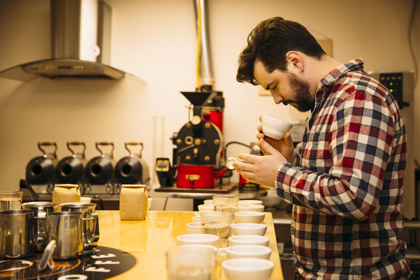 Bud cupping coffee in the previous Kaldi's Coffee Roastery