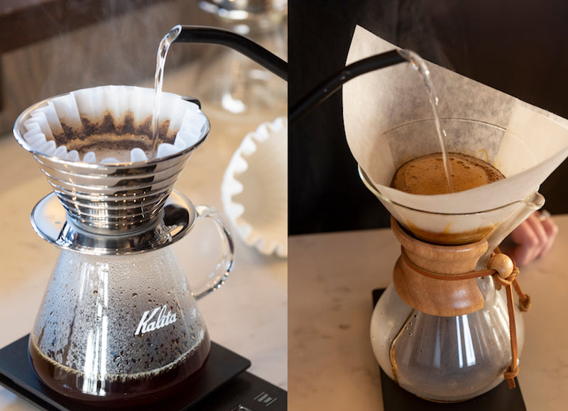 A Kalita Wave 185 Brewer with Coffee Being Brewed Next to a Chemex Coffee maker with Coffee Being Brewed