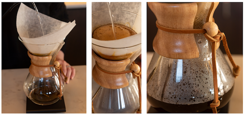 Three Stages of a Chemex Coffee Maker Brew
