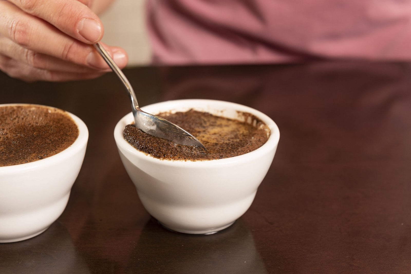 Breaking the crust on coffee cupping bowls