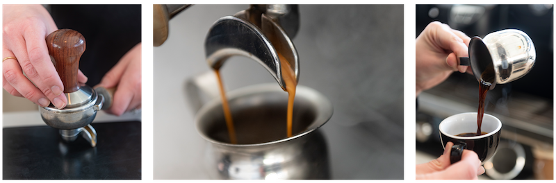Espresso Coffee being tamped, brewed, and then poured into a small cup