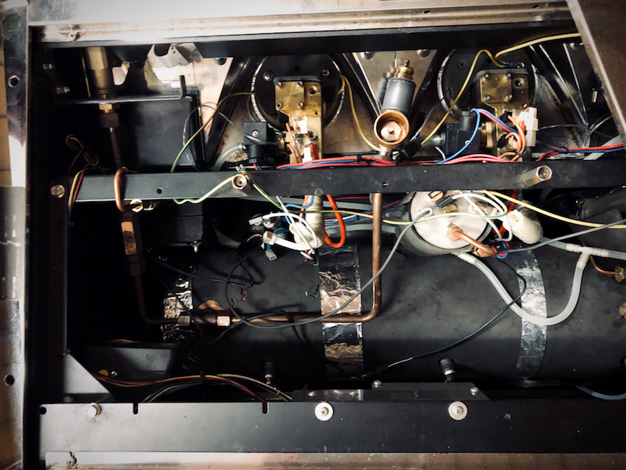 Inside one of the espresso machines that a Kaldi's Coffee tech would work on