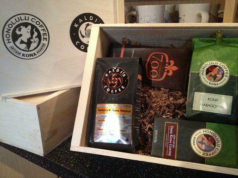 kaldi's coffee and honolulu coffee company wooden box patric chocolate kona coffee
