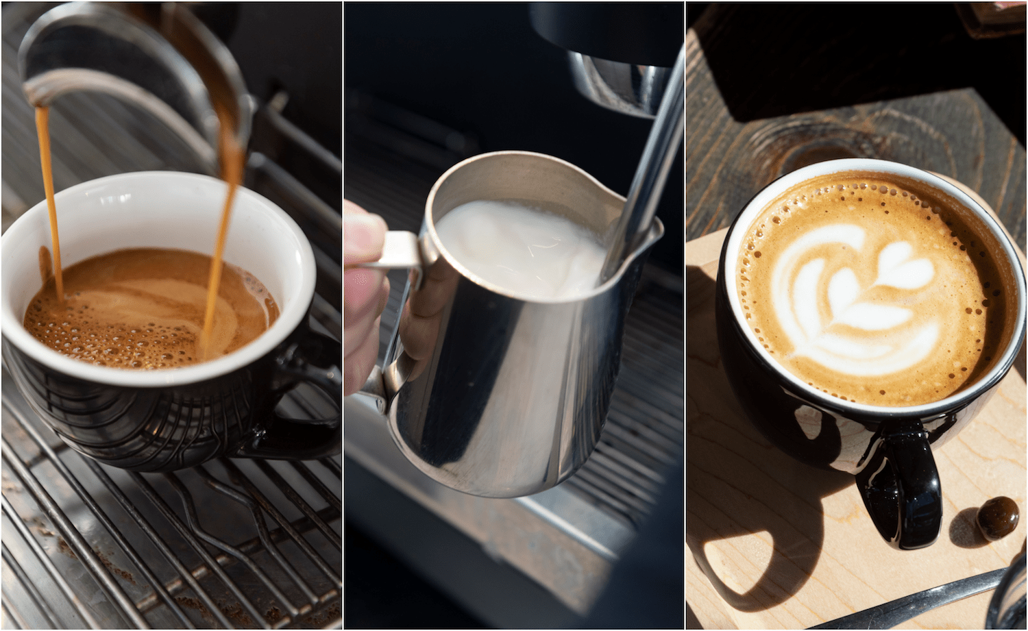 Making an espresso shot, frothing milk, and a finished vanilla latte