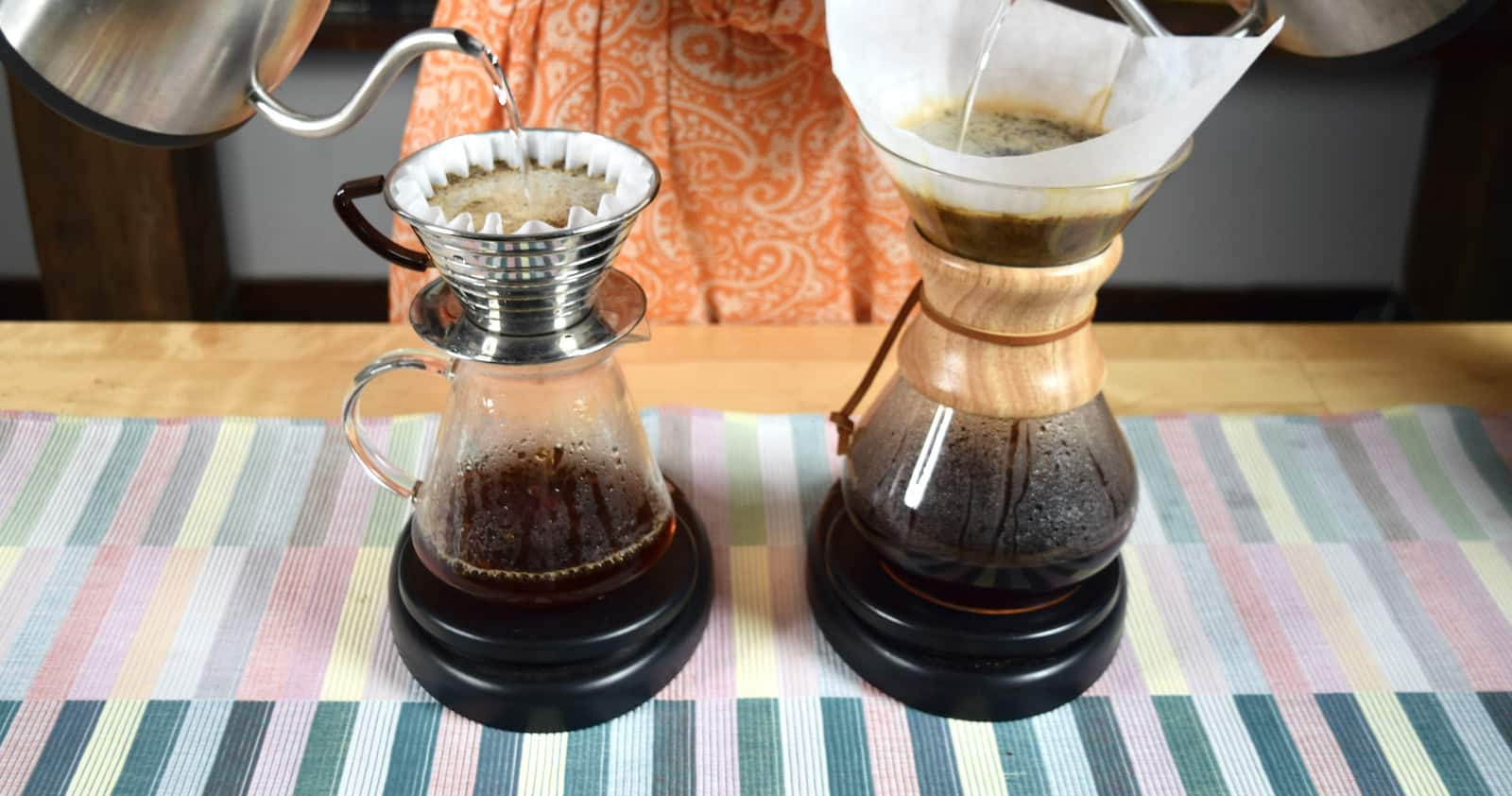 Pouring into Kalita and Chemex