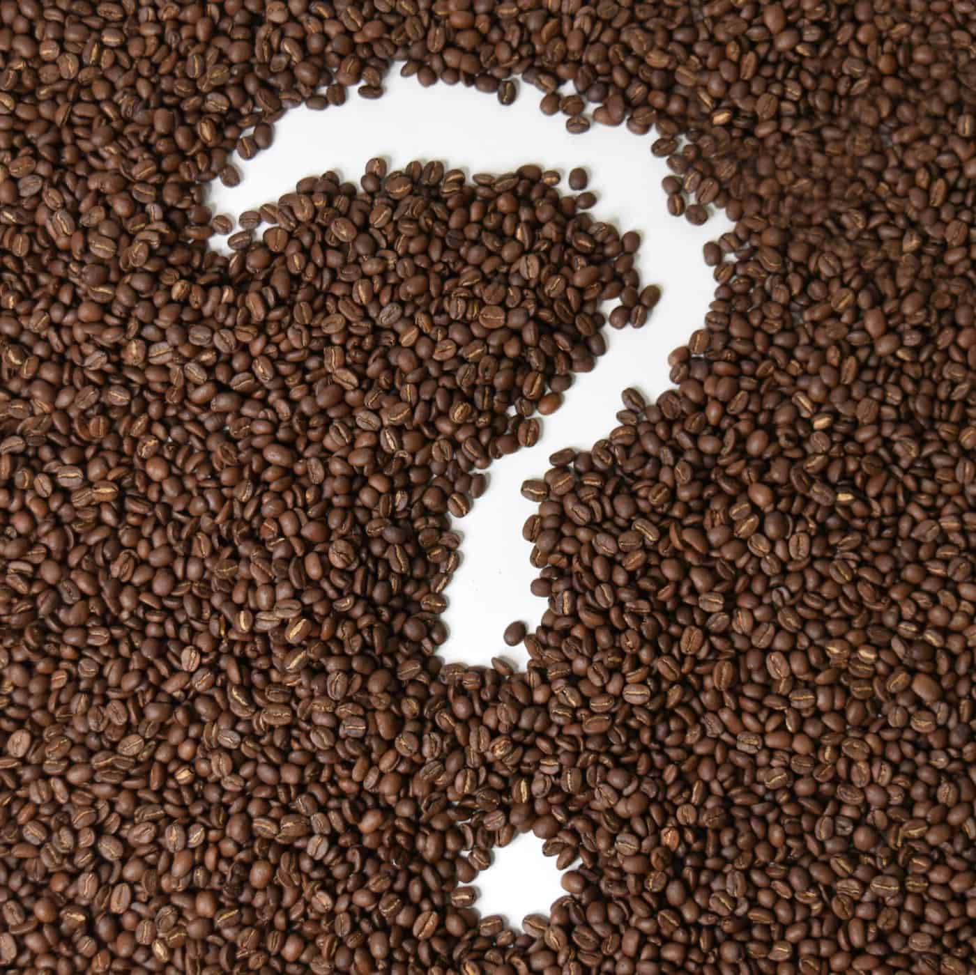 Question mark inside of coffee beans