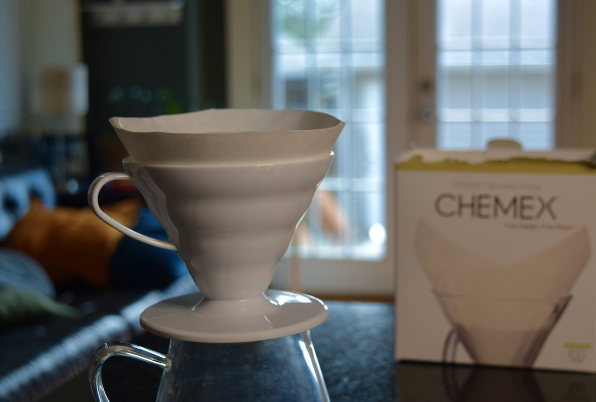 V60 with a Chemex filter in it