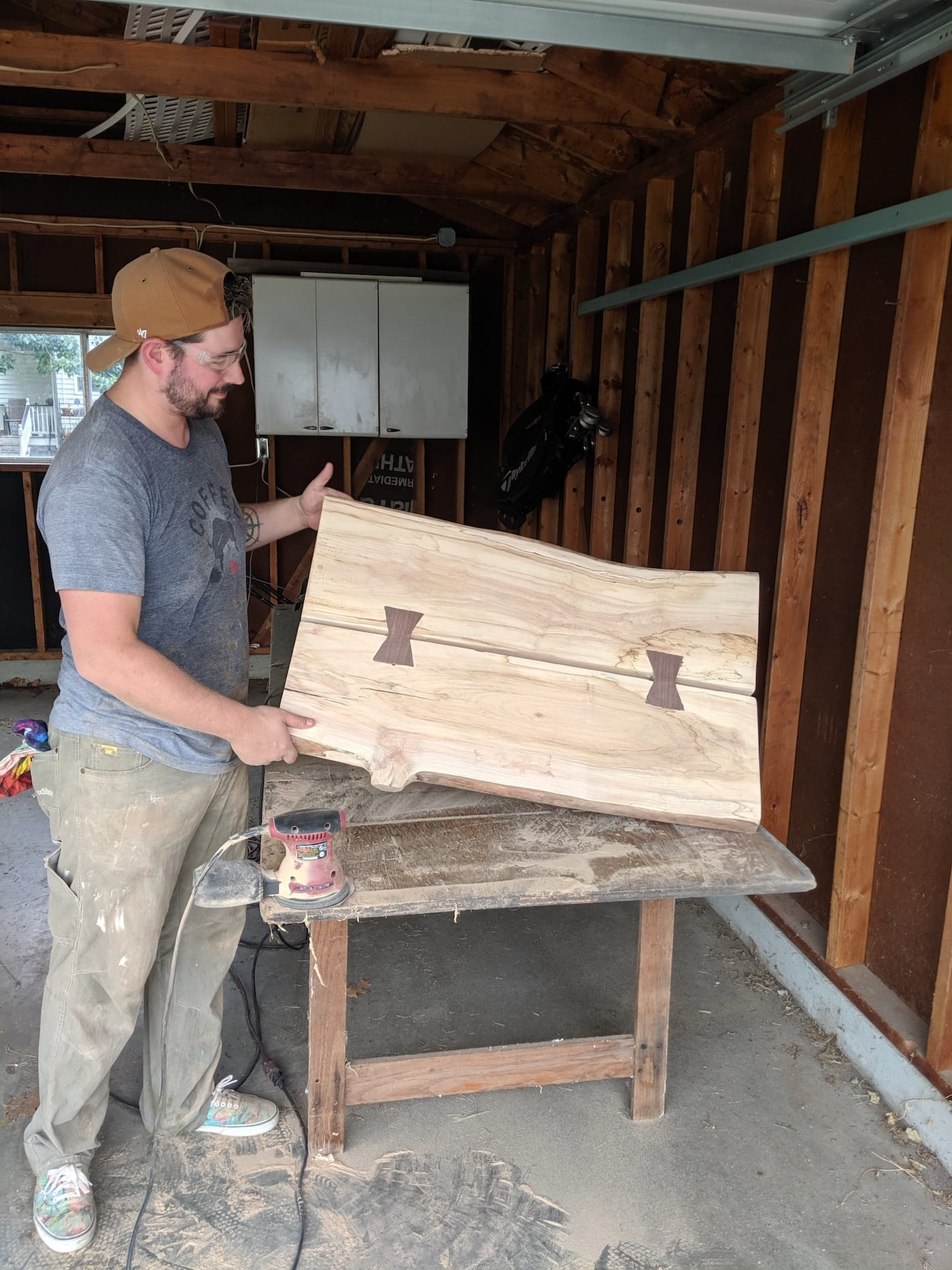 Bud showing off his woodwork