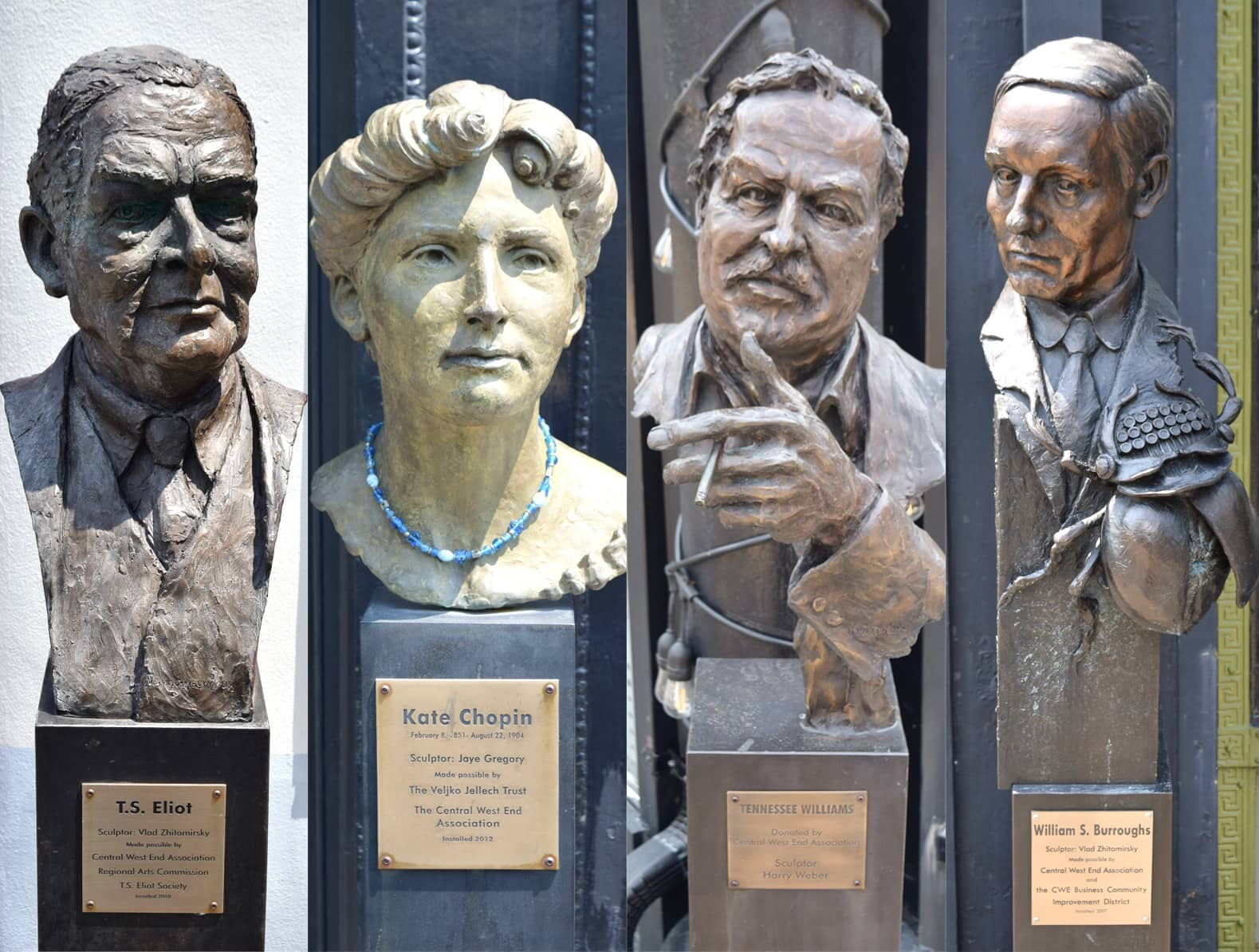 4 statues in Writers Corner in the Central West End - T.S. Elliot, Kate Chopin, Tennessee Williams, William S. Burroughs