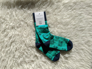 Kaldi's Coffee Socks - Green, Navy Blue, and Featuring the old Kaldi's Logo