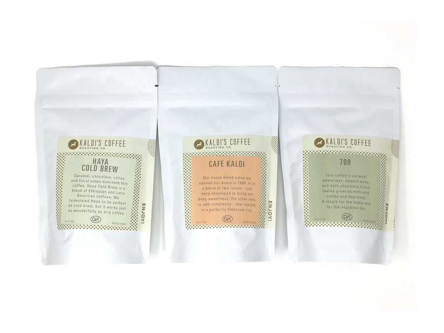 Kaldi's Coffee Blend Sampler - Haya Cold Brew, Cafe Kaldi, and 700. 4 oz bags of each