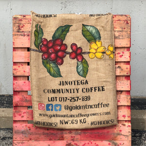 Gold Mountain Coffee Growers Hand Painted Burlap Bag | Coffee Cherries