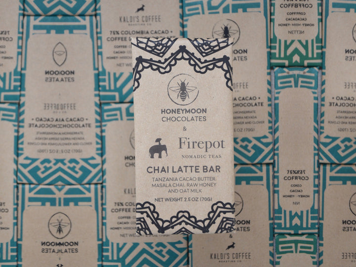 award-winning chai recipe from Firepot Nomadic Teas mixed with traceable white chocolate in one delicious bar.