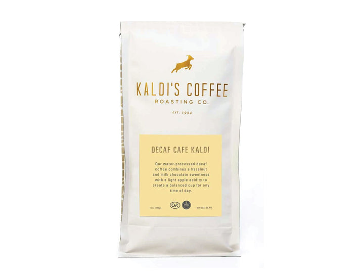 12oz bag of Decaf Cafe Kaldi, a decaf version of our house blend