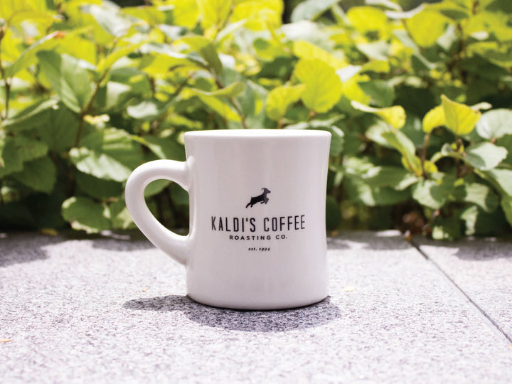 Kaldi's Coffee Diner Mug, thick and durable white ceramic with our logo goat