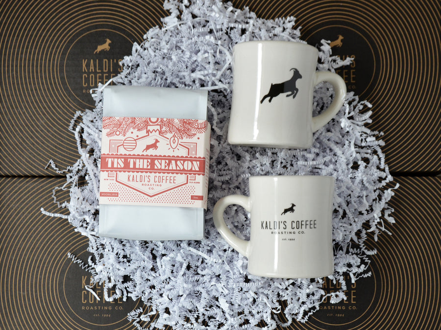 a fan-favorite, beautifully wrapped holiday blend that embodies the season, and two of our perfect, thick, heat-retaining diner mugs to drink it from