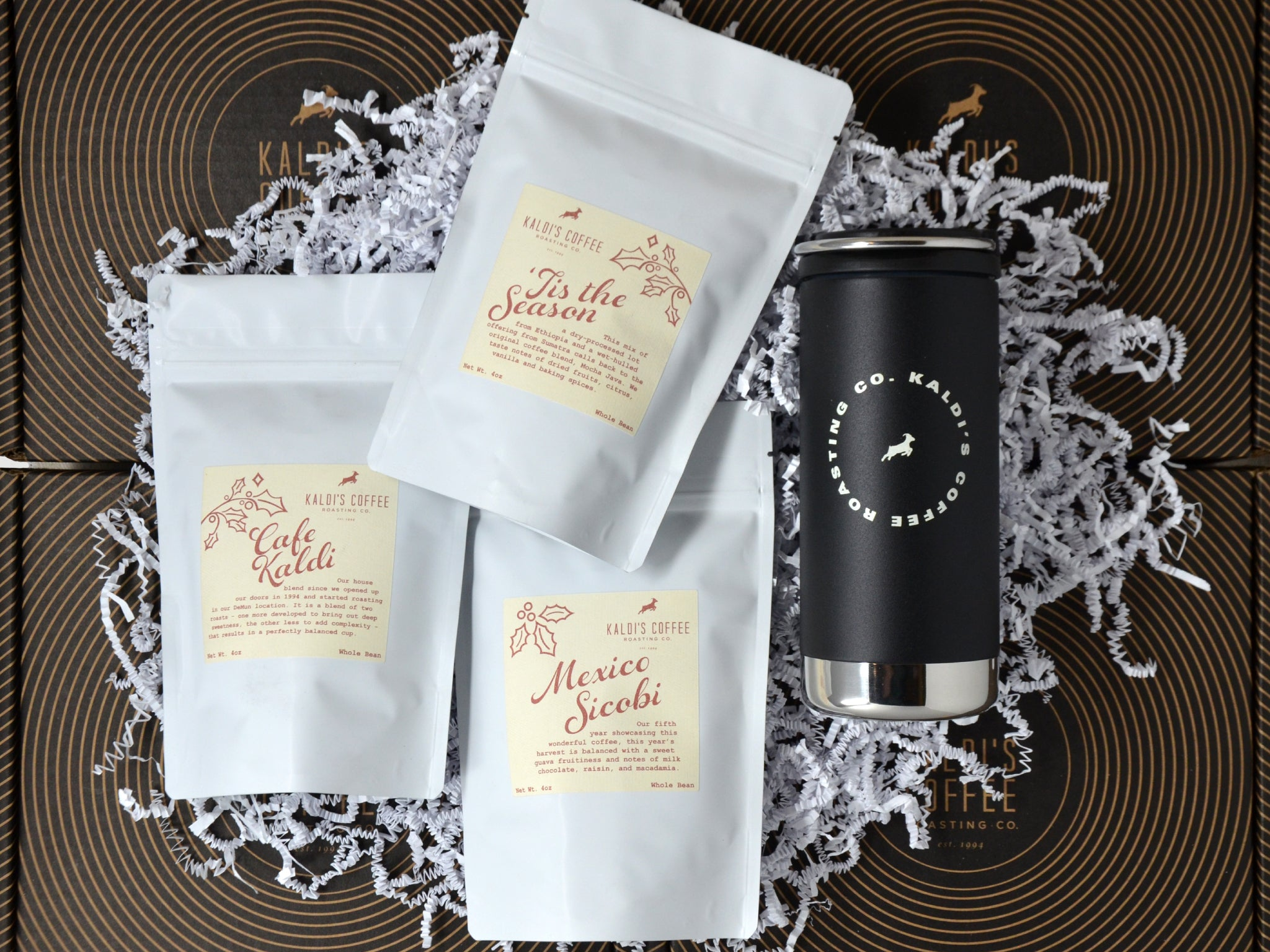 12oz Klean Kanteen and 3 4oz Coffee Gift Pack | Holiday Gift Box, $41.99