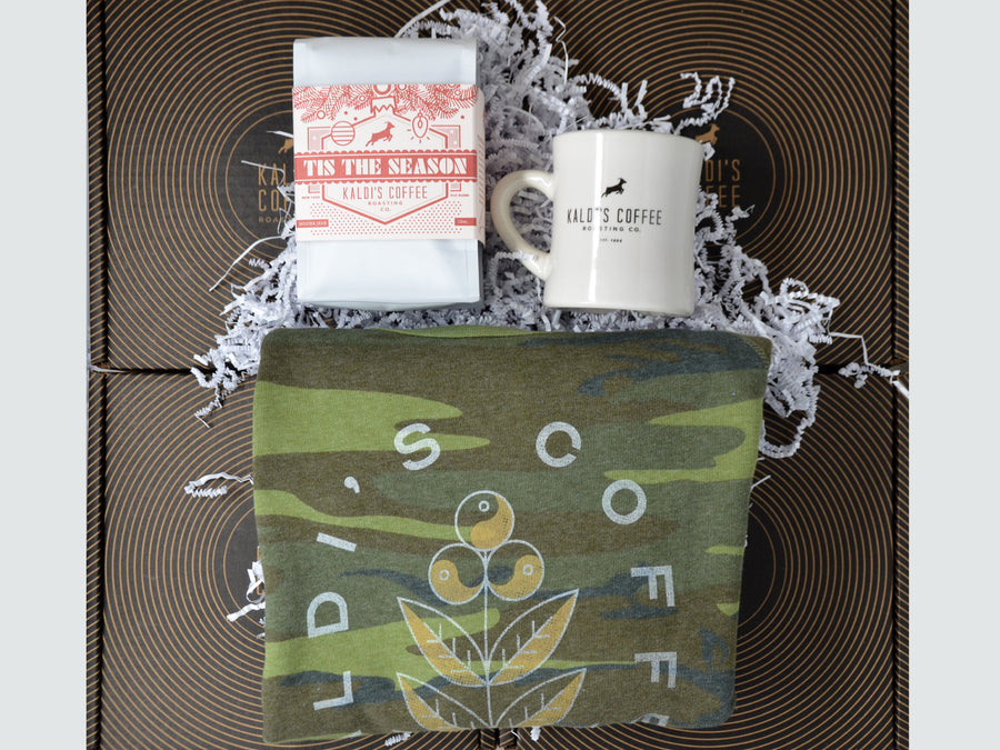 Coffee Gift Box! An impossibly soft, gift-box-exclusive camo sweatshirt, a fan-favorite, beautifully wrapped holiday coffee blend, and the perfect, thick, heat-retaining coffee diner mug to drink it from.