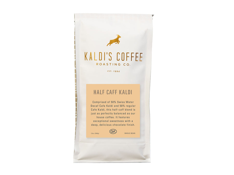 12oz bag of Half Caff Kaldi, low caffeine coffee blend