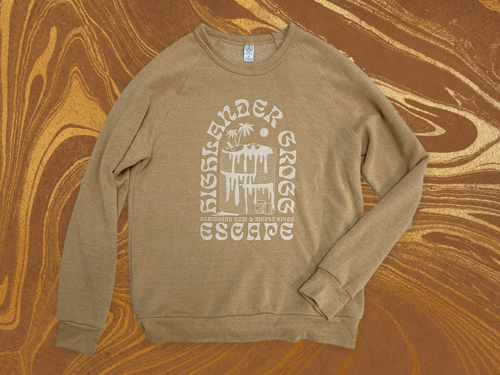 "Highlander Grogg ""Escape"" Sweatshirt - Front side with Highlander Grogg and a graphic of a stack of pancakes"