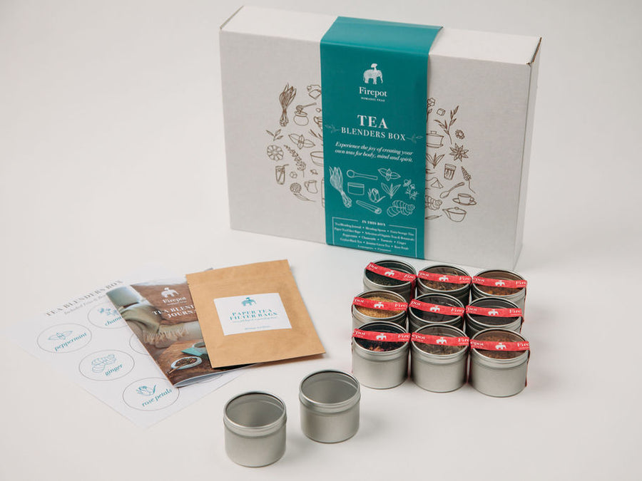 Tea Blenders Box from Firepot: In this box, you will find everything that you need to get started on your tea blending journey, including a diverse assortment of teas and botanicals, storage containers for your favorite blends, biodegradable and eco-friendly paper tea filters for steeping your blends, a journal to document your recipes and experiences, plus recipes for some of their favorite wellness blends for you to try!