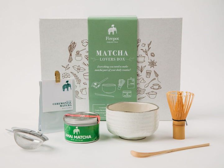 Matcha Lovers Box... everything you need to make Matcha part of your daily routine! Matcha whisk, bowl, strainer, amai matcha